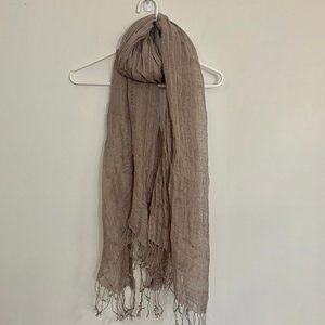 H&M Linen Scarf with Fringe - Brown 68 inches